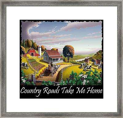 Country Roads Take Me Home T Shirt - Appalachian Blackberry Patch Country Farm Landscape 2 Framed Print by Walt Curlee