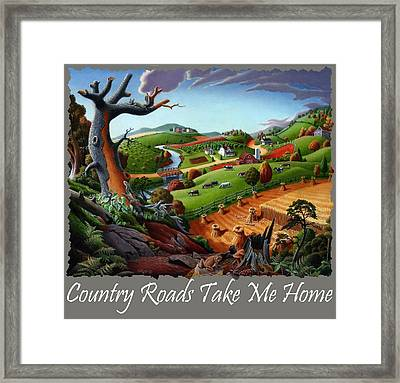 Country Roads Take Me Home T Shirt - Autumn Wheat Harvest 2 Country Farm Landscape Framed Print by Walt Curlee