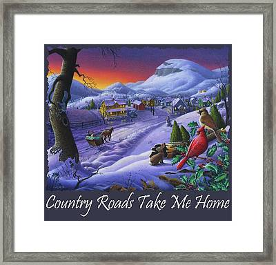 Country Roads Take Me Home T Shirt - Small Town Winter Landscape With Cardinals 2 - Americana Framed Print by Walt Curlee