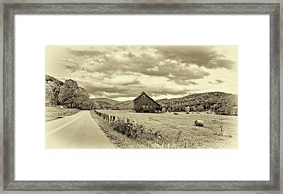 Country Road...west Virginia - Sepia Framed Print