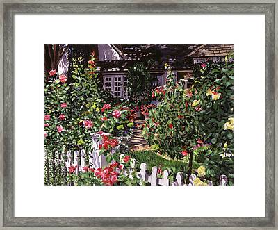 Country Rose Cottage Framed Print by David Lloyd Glover