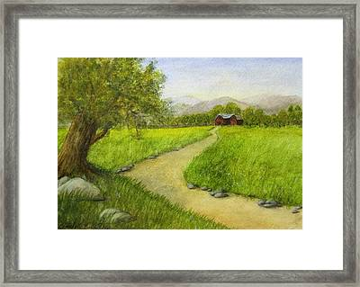 Country Scene - Barn In The Distance Framed Print