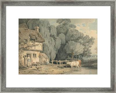 Country Scene - Figures By A Cottage Door And Cattle In A Stream Framed Print