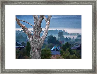 Country Side Morning Mist Framed Print