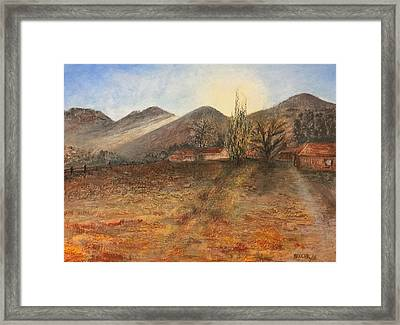 Framed Print featuring the pastel Country Sunset by Norma Duch