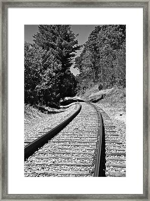 Country Tracks Black And White Framed Print