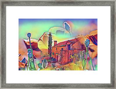 Country Villa Nestled In A Field Of Poppies Framed Print