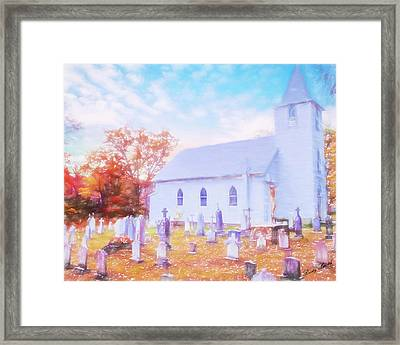 Country White Church And Old Cemetery. Framed Print
