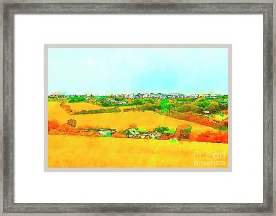 Framed Print featuring the digital art countryside  in Cornwall, UK by Ariadna De Raadt
