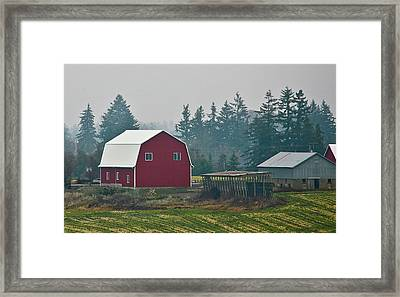 Countryside Red Barn Framed Print by Liz Santie