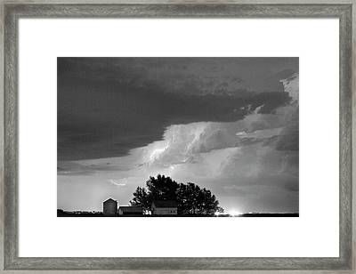 County Line Northern Colorado Lightning Storm Bw Framed Print