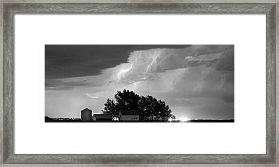 County Line Northern Colorado Lightning Storm Bw Pano Framed Print