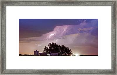 County Line Northern Colorado Lightning Storm Panorama Framed Print