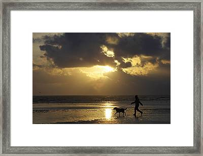 County Meath, Ireland Girl Walking Dog Framed Print by Peter McCabe