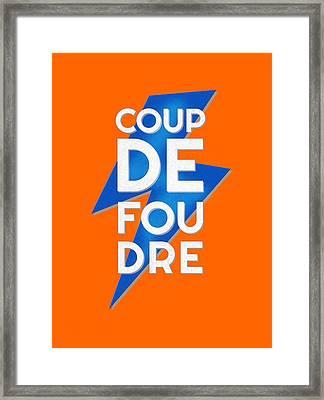 Coup De Foudre Blue Lightning Framed Print by Antique Images