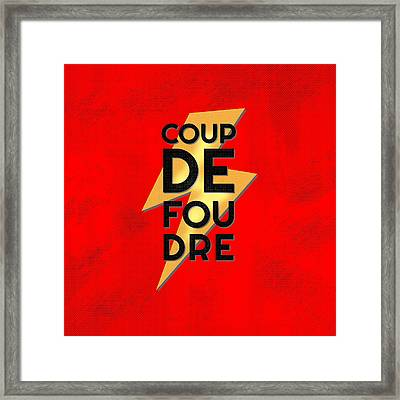 Coup De Foudre - Retro Red Framed Print by Antique Images