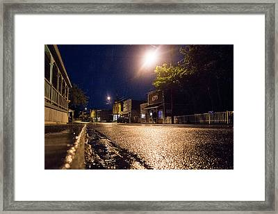 Coupeville On A Rainy Night Framed Print by Mary Lee Dereske