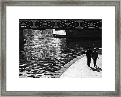 Framed Print featuring the photograph Couple And Canal by Adrian Pym