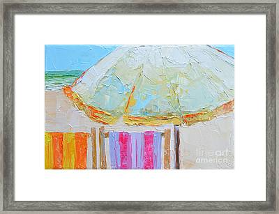Beach Chairs Under White Umbrella - Modern Impressionist Knife Palette Oil Painting Framed Print by Patricia Awapara