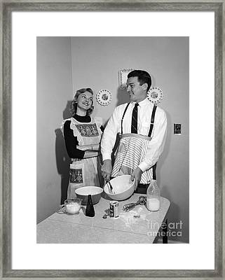 Couple Baking, C.1950s Framed Print by Debrocke/ClassicStock