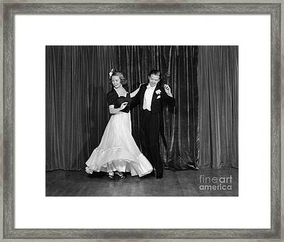 Couple Ballroom Dancing On Stage Framed Print by H. Armstrong Roberts/ClassicStock