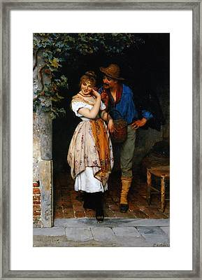 Couple Courting Framed Print by Eugen von Blaas
