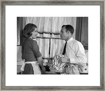 Couple Doing Dishes, C.1960s Framed Print