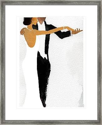 Couple Dressed Up And Slow Dancing Framed Print by Gillham Studios