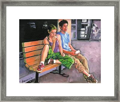 Couple Eating A Snack Framed Print by Dominique Amendola