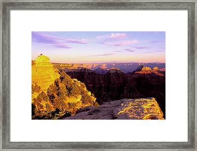 Couple Enjoys Grand Canyon Sunset Framed Print by Alan Lenk