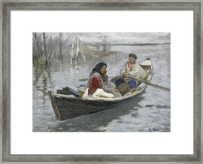Couple In A Rowing Boat Framed Print by Alexei Stepanovich