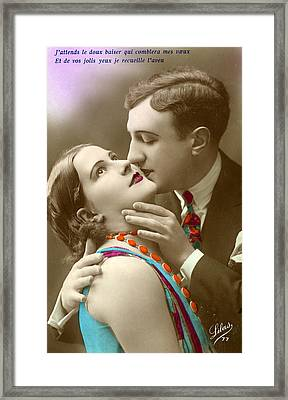Couple Kissing Framed Print