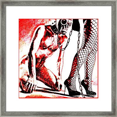 Couple Nude In Bdsm Play And Image Finished In Digital Dots Art  Framed Print