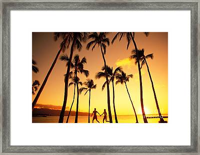 Couple Silhouette - Tropical Framed Print by Dana Edmunds - Printscapes