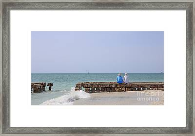 Couple Sitting On An Old Jetty Siesta Key Beach Florida Framed Print