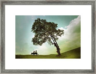 Couple Sitting Under The Tree Framed Print by Cho Me