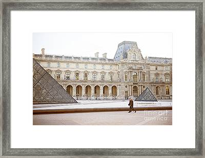 Framed Print featuring the photograph Couple Strolling At Louvre Museum  by Ivy Ho