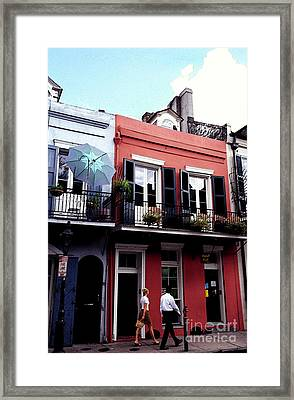 Couple Strolling French Quarter New Orleans Framed Print
