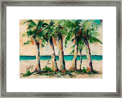 Couple Under Palm Trees Framed Print by Mary DuCharme