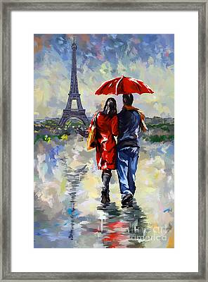 couple walking in the rain Paris Framed Print