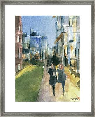 Couple Walking On The New York High Line Framed Print