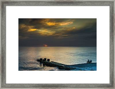 Framed Print featuring the photograph Couple Watching Sunset by John Williams