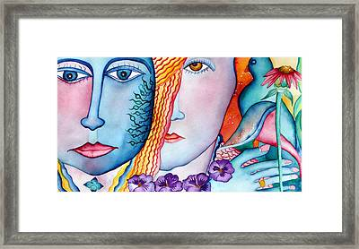 Couple With Red And Blue Bird Framed Print