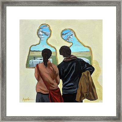 Couple With Their Heads Full Of Clouds Framed Print