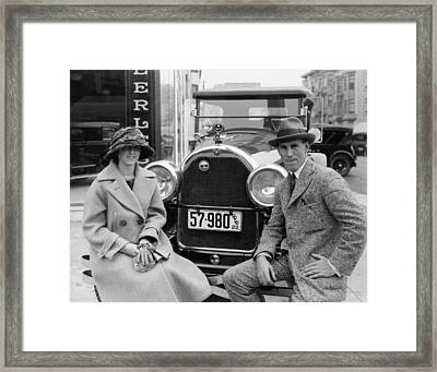 Couple With Their Peerless Car Framed Print by Underwood Archives