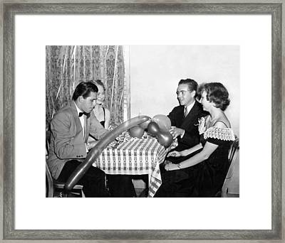 Couples At A Party Framed Print by Underwood Archives