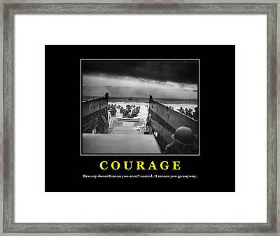Courage -- D Day Poster Framed Print by War Is Hell Store