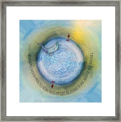 Courage To Lose Sight Of The Shore Orb Mini World Framed Print by Christina VanGinkel