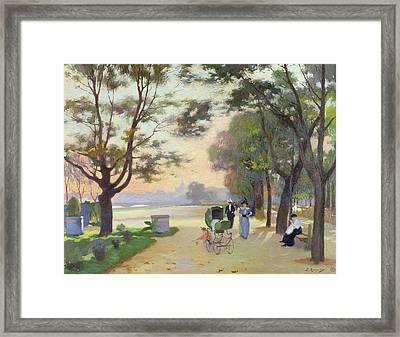 Cours La Reine Paris Framed Print by Jules Ernest Renoux