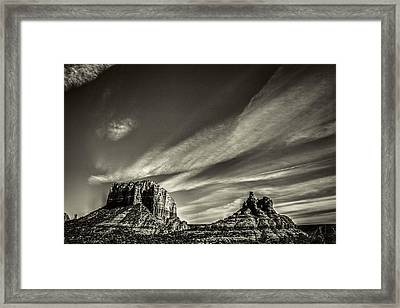 Courthouse Butte And Bell Rock Sedona Arizona Framed Print by Roger Passman